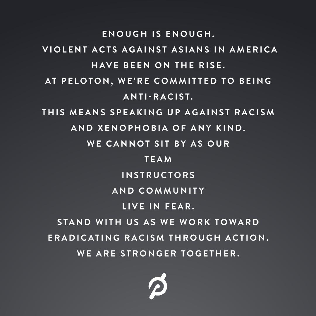 Screenshot of Peloton social media post.