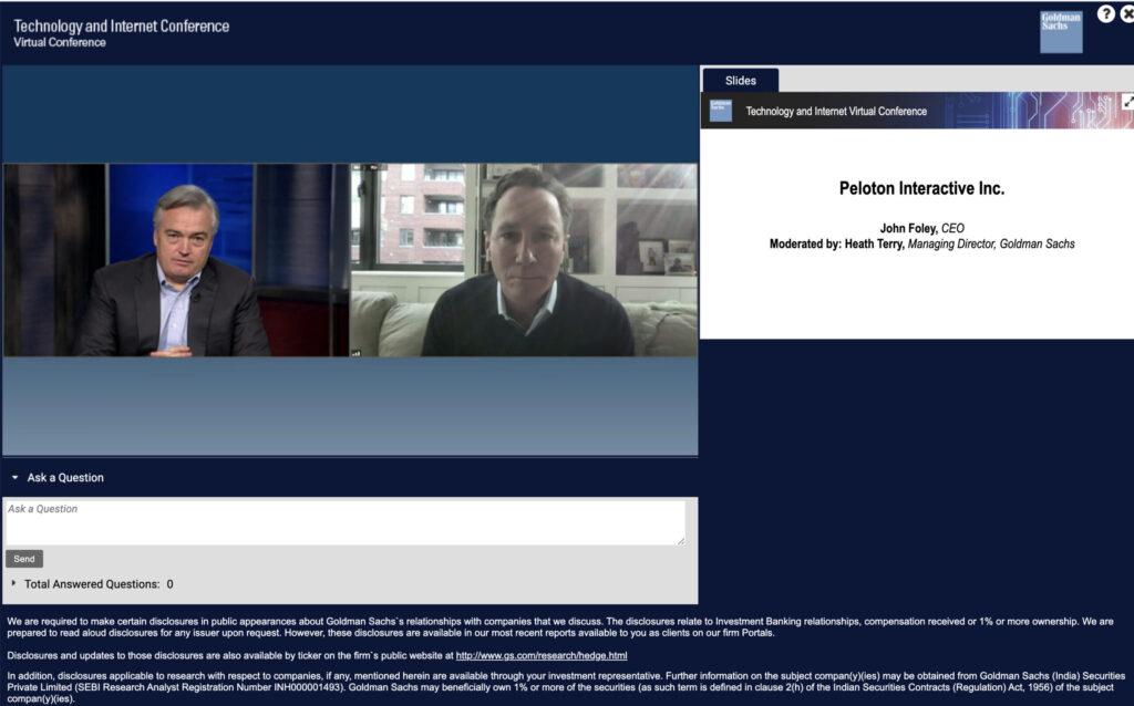 Screenshot Peloton CEO John Foley being interviewed.