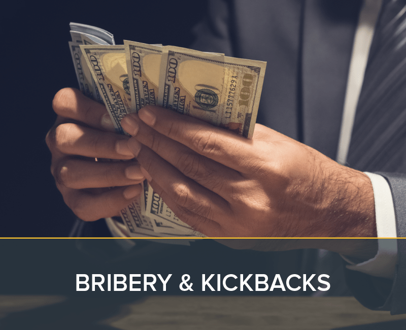 Man receiving bribe or kickback from organization