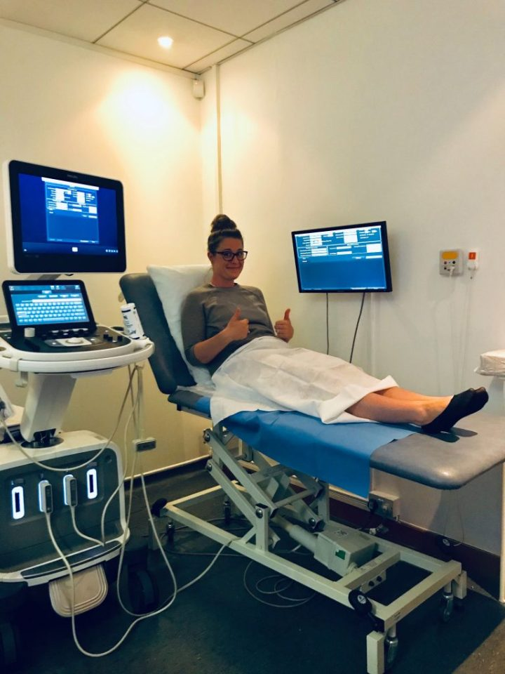 lindsey dietz preparing for a transvaginal transabdominal ultrasound for pelvic congestion syndrome
