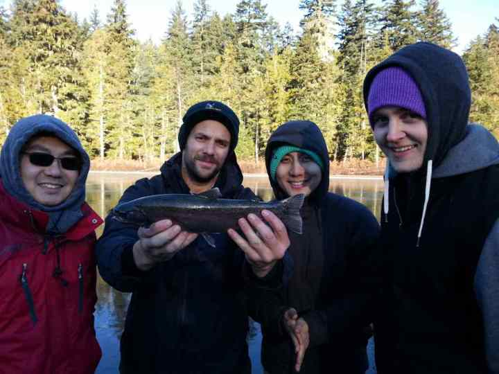 Group Ice Fishing in Whistler
