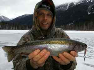 Ice fishing for Rainbow Trout