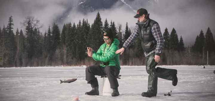 Ice fishing action shot