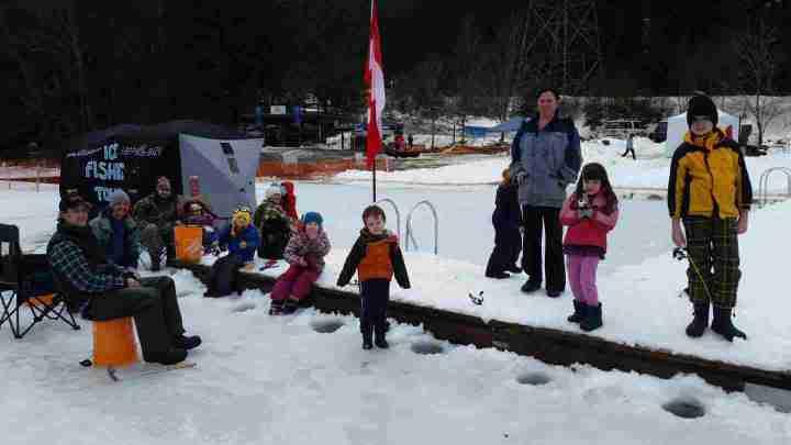 Kids having fun Ice fishing
