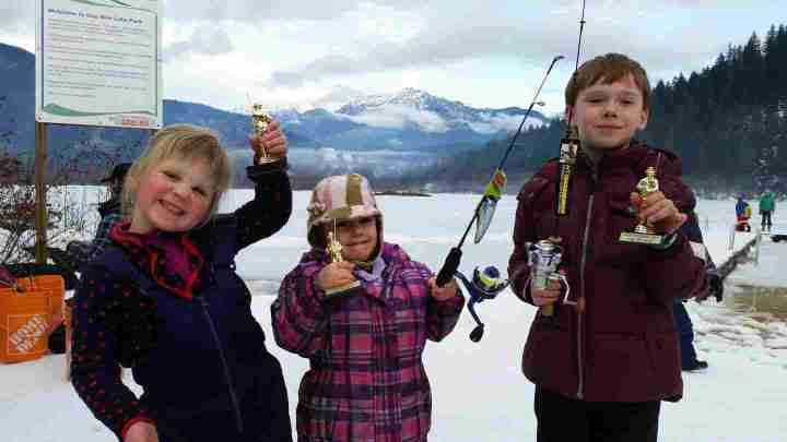 Winners of the 2015 Pemberton Winterfest Kids Ice fishing derby