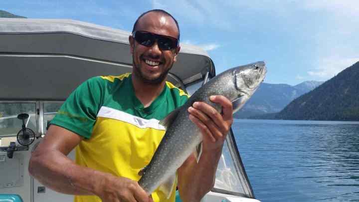 Beautiful day fishing on a boat in Whistler