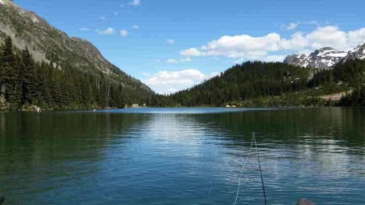 Fly fishing an alpine lake in British Columbia