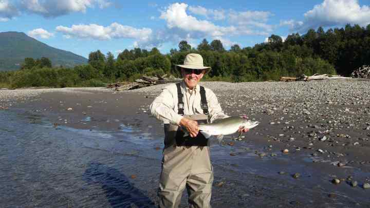 Pink Salmon fly fishing trips in Whistler