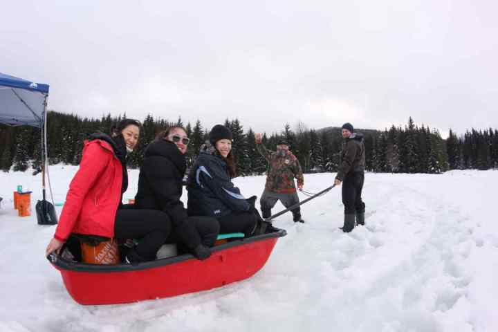 Girls are going for a sleigh ride