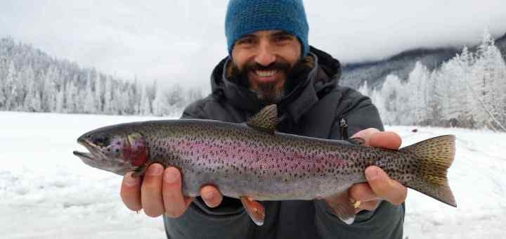 Ice fishing in Whistler BC Canada