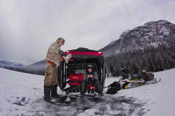Ice fishing tours in British Columbia