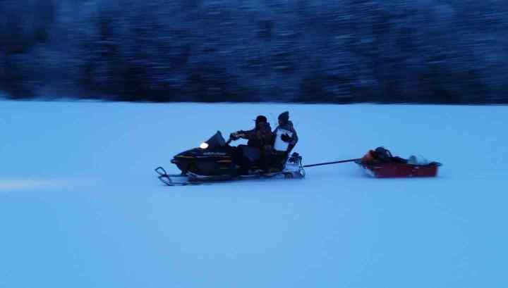 Snowmobile Ice fishing