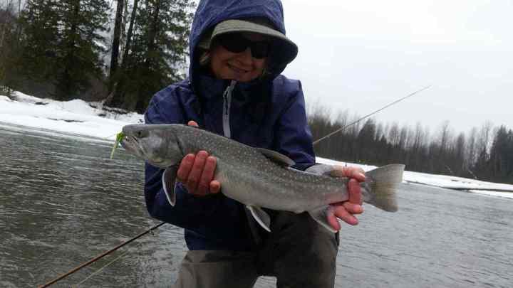Winter fly fishing Upper Lillooet river in Pemberton BC