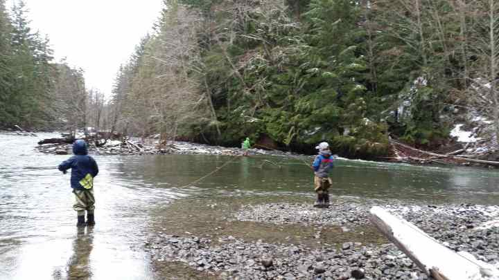 Family Fly fishing in British Columbia
