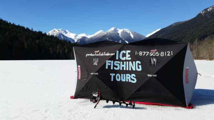 Ice fishing Blackwater lake in Pemberton BC