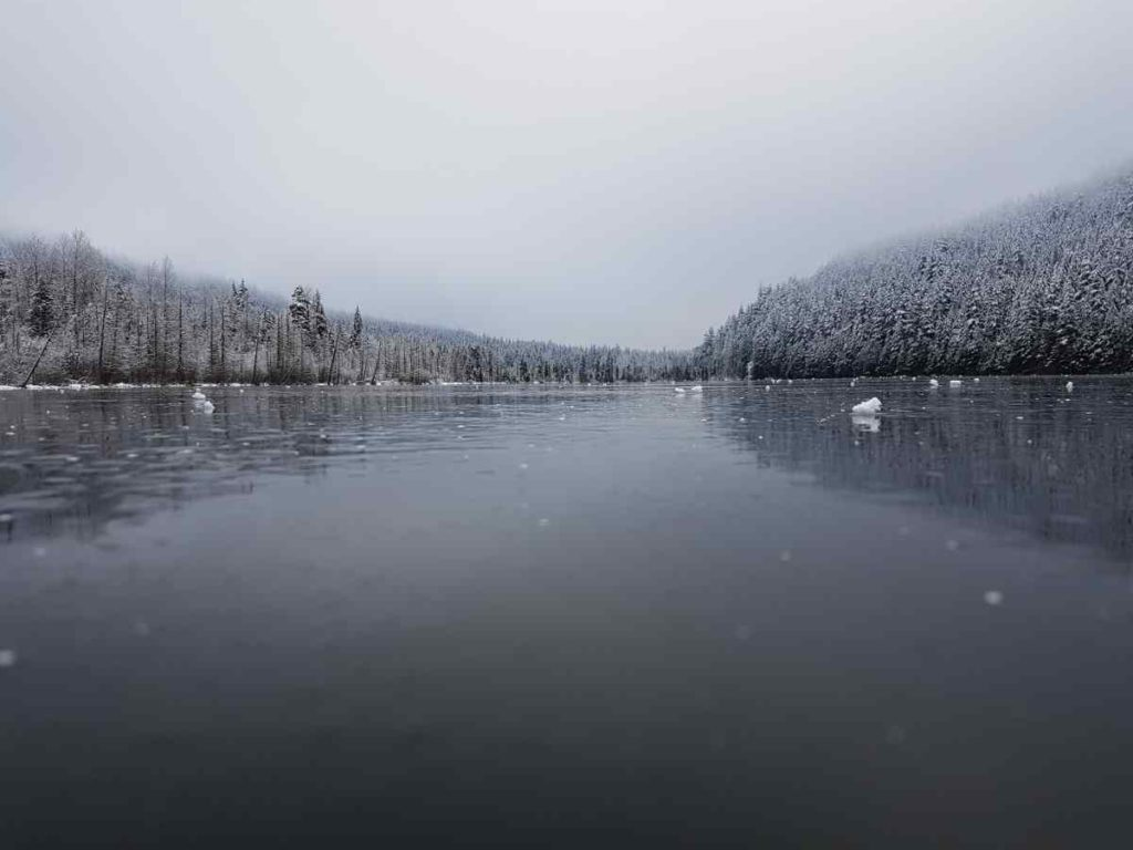 Frozen lake in British Columbia