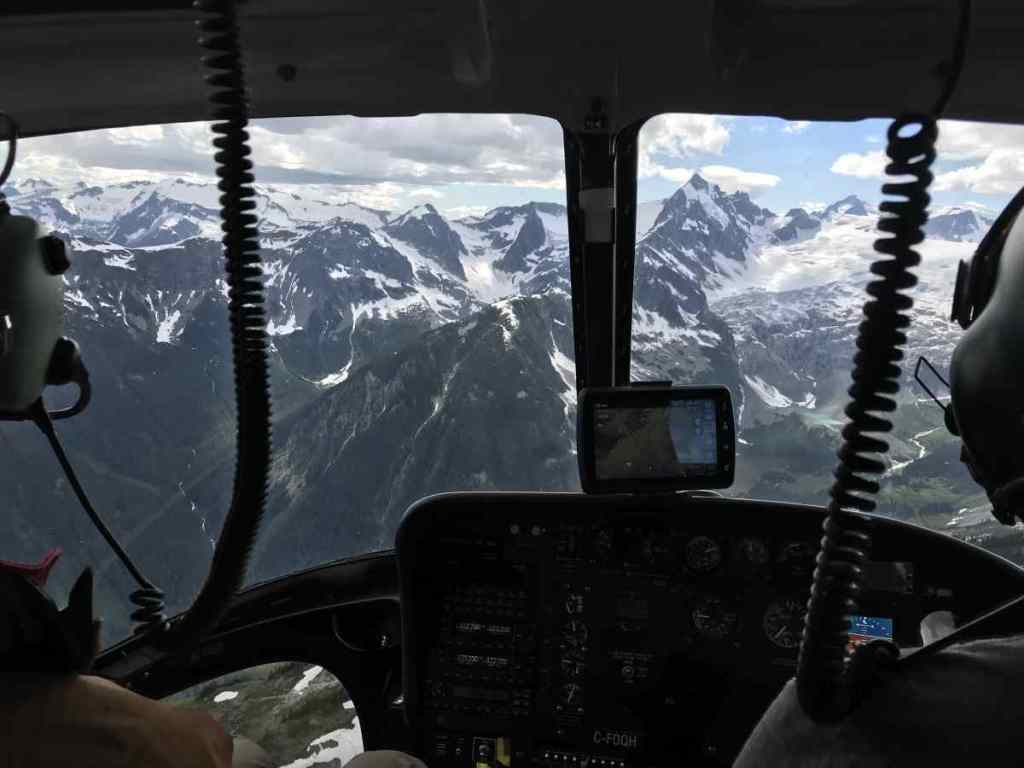 Flying through the mountains in Canada