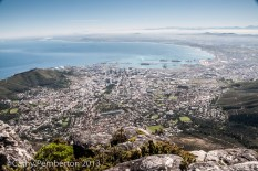 Cape Town stretches out below Table Mountain.