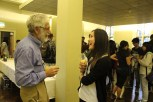 A student chats to Rob over drinks in the Chetwynd Room following the talk.