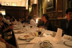 The formal in Pembroke hall, a three-course meal followed by coffee and mints. The food at Pembroke has an outstanding reputation among the colleges at Cambridge.