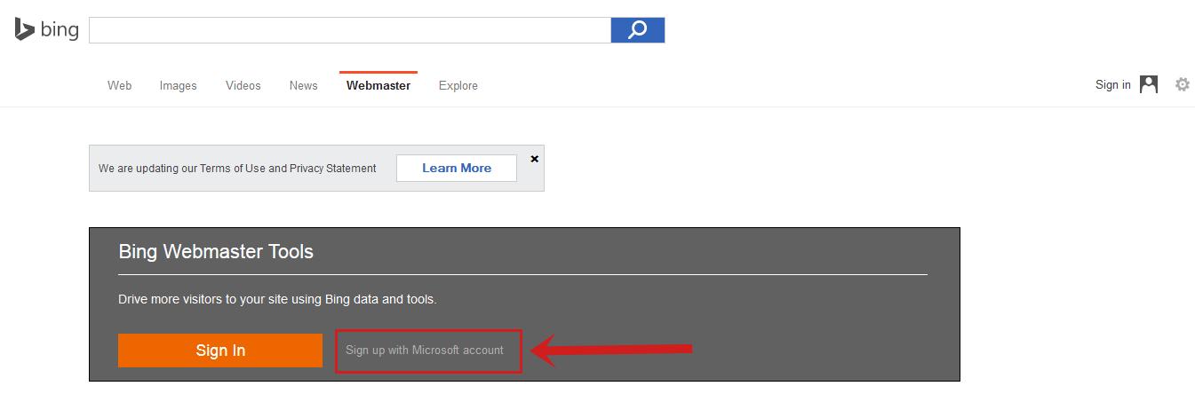cara daftar dan verifikasi log ke bing webmaster tools