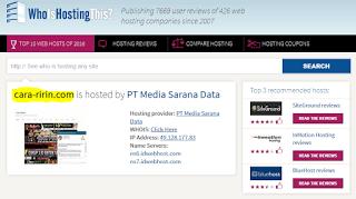 cara mengetahui hosting website