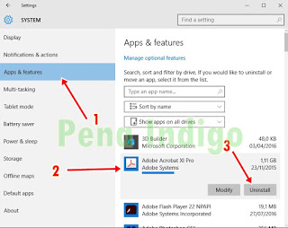 uninstal aplikasi dan software pada windows 10