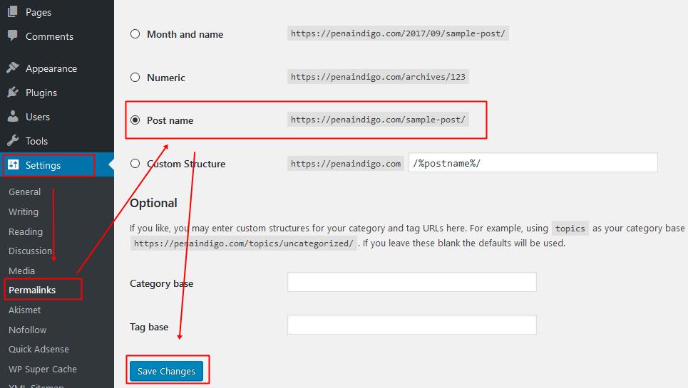 Cara Mengubah URL Wordpress Menjadi SEO Friendly
