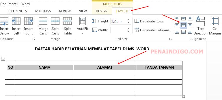 cara membuat tabel di microsoft word 3