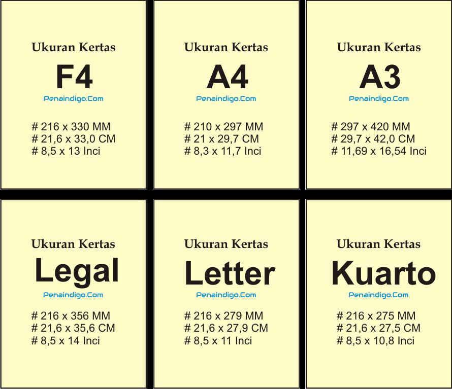 Perbedaan Ukuran Kertas F4 Folio A4 A3 Legal Letter Dan Kuarto