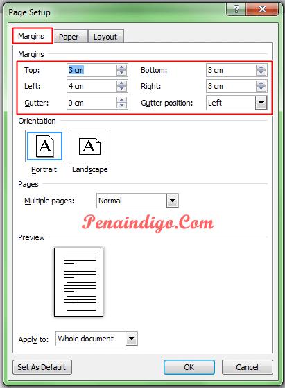 cara mengatur ukuran kertas dan margin di ms word 1