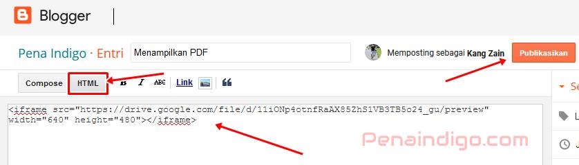 cara menampilkan pdf di blogspot blogger