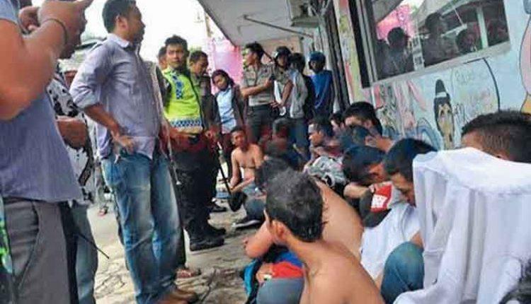 aksi tawuran pelajar di Tangerang