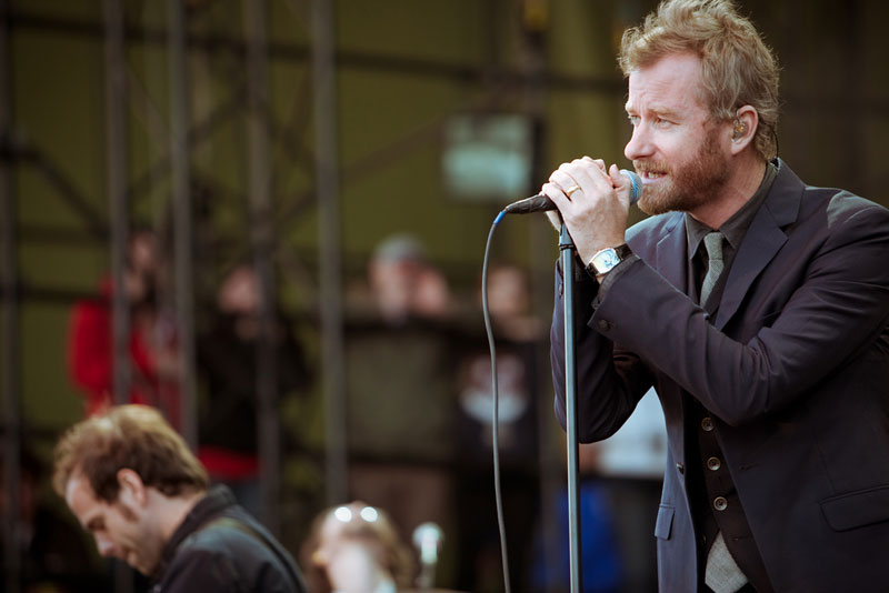 Frontman for The National, Matt Berninger performs at the 2010 Sasquatch Music Festival at Washington's Gorge Amphitheater (Photo by Christopher Nelson).