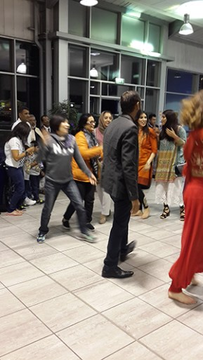 My sister join in their bollywood line dancing.