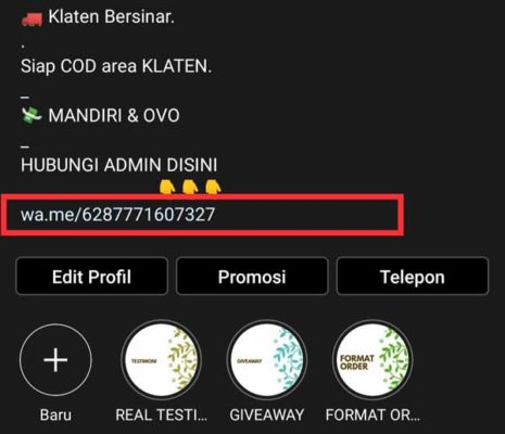 Membuat Link WhatsApp di Bio Instagram