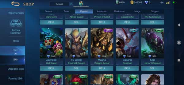 Harga Skin Hero Fighter Mobile Legends