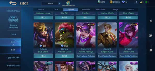 Daftar Harga Skin Fighter Mobile Legends