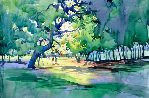 Artwork by Sadhu Aliyur art workshops in bangalore - Artwork by Sadhu Aliyur Pencil And Chai - Watercolor Workshop With Eminent Artist Shri. Sadhu Aliyur – Hues of Watercolor-2