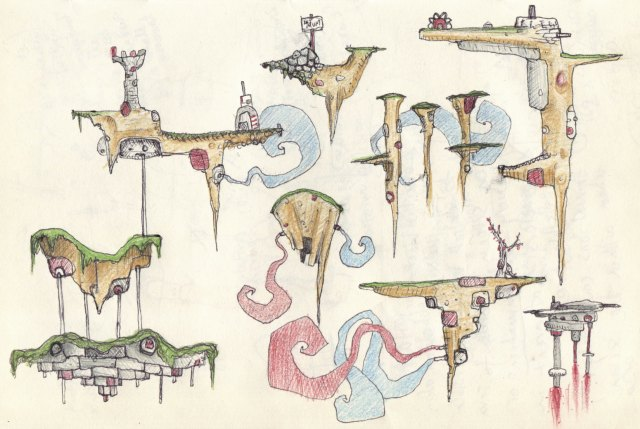 Biro and colour pencil small floating islands ideas