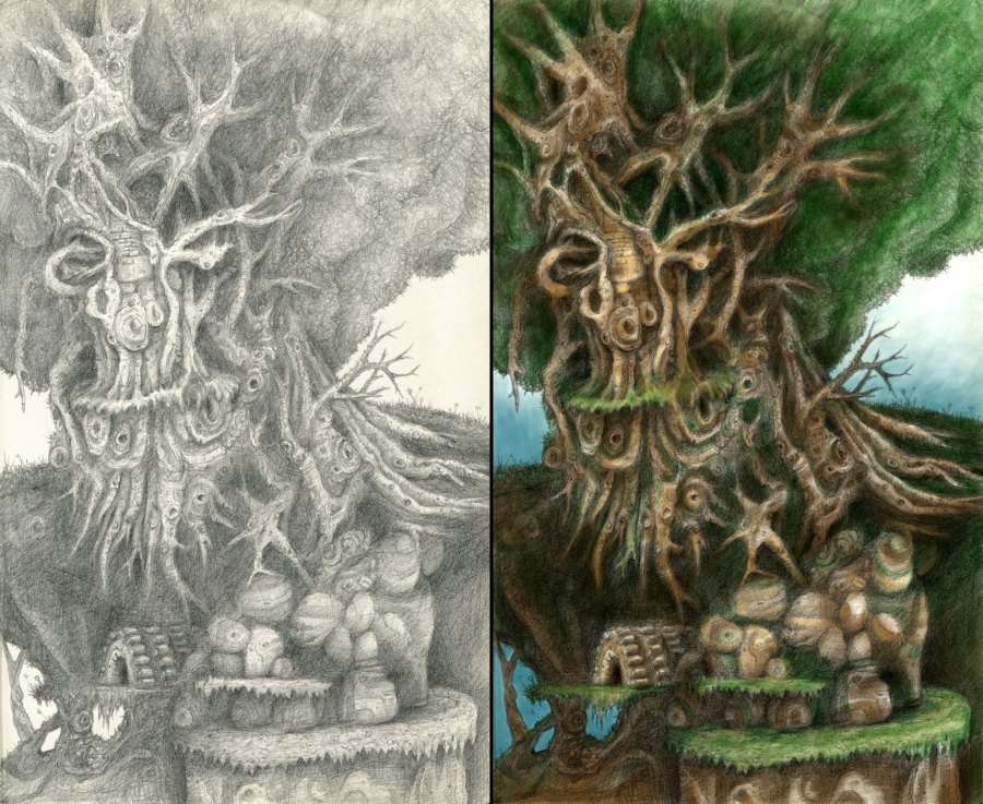 Green man tree creature game environment concept art