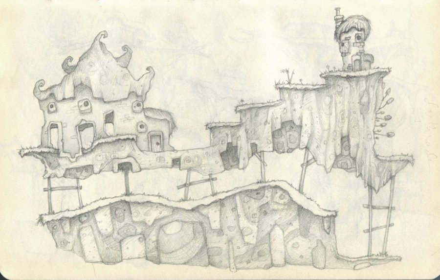Drawing Quirky Wooden Houses on Stilts Grassy Platform Level Design