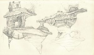 Floating Island Pencil Drawing with Rope Bridge and Wooden House