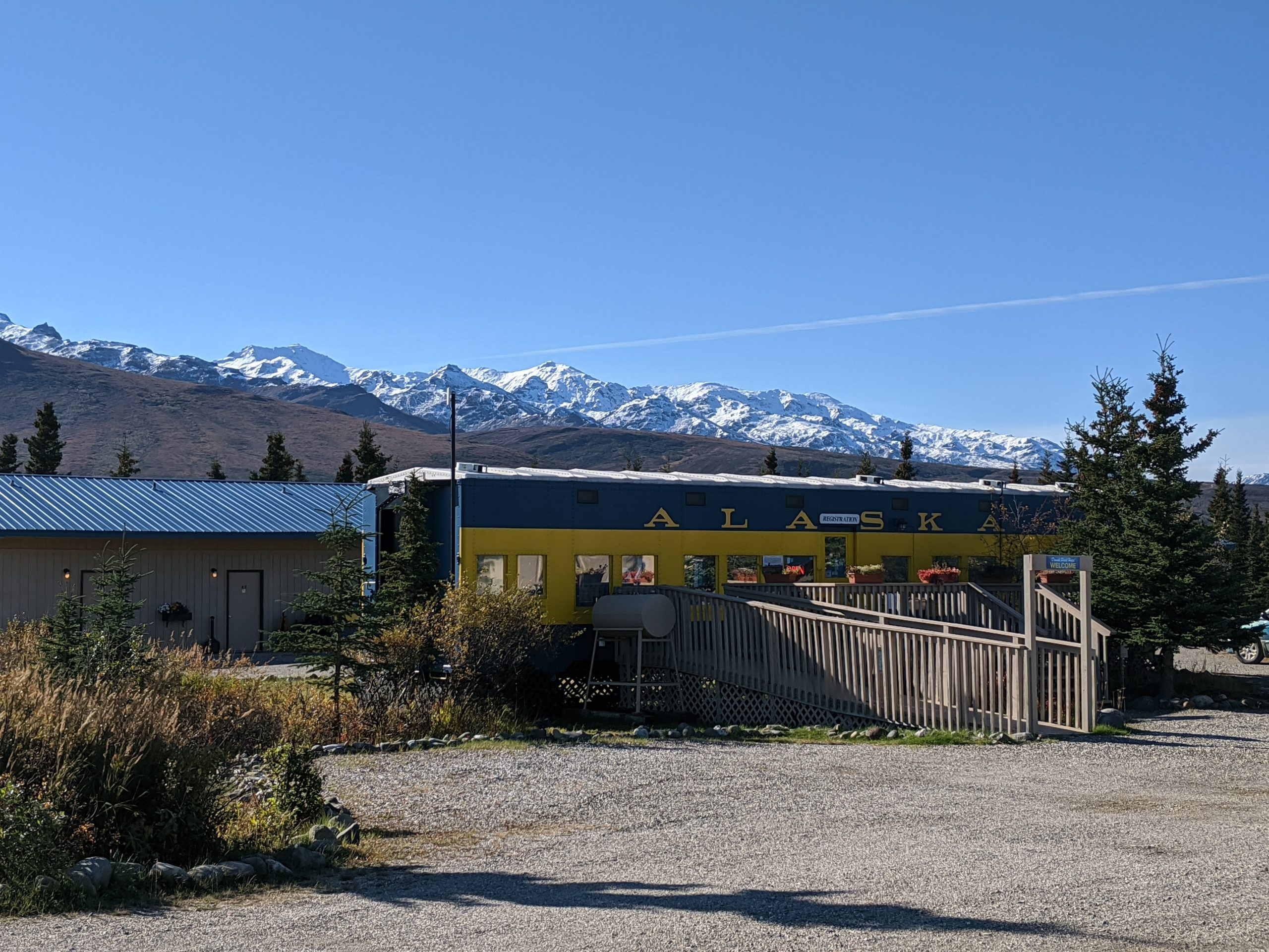 The Old Alaska Railroad car serves as the check in point for the Denali Park Hotel-- a great hotel near Denali.