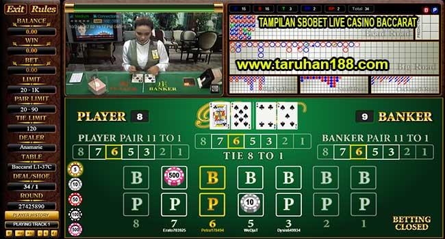 Tampilan Sbobet Live Casino Baccarat