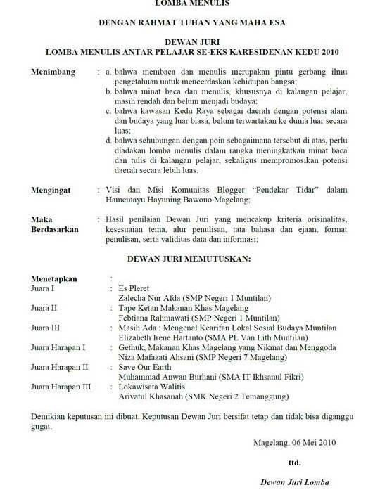 Surat Keputusan Dewan Juri Lomba Menulis