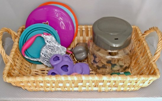 Put frequently used items in open basket
