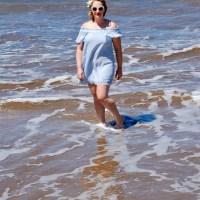 In the Surf: Blue Off-the-Shoulder Dress