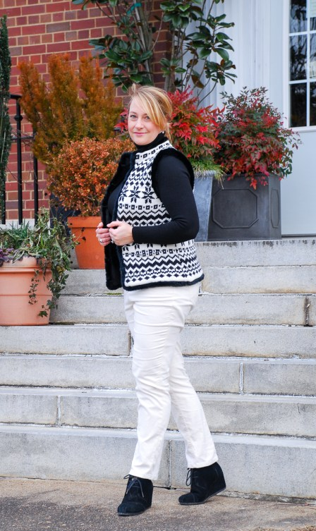 Two looks with this fair isle sweater vest in classic black and white for chic everyday wear that will keep you toasty on these cold January days! #casuallook #sweatervest #fairisle #chicstyle #blackandwhite #talbots