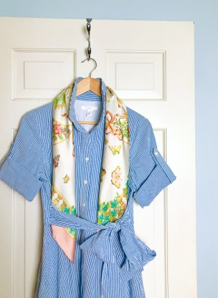 Seersucker dress and pastel scarf - The Charming Index